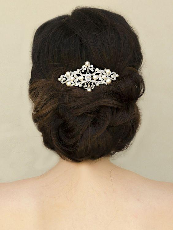 "Vintage Rhinestone & Pearl Bridal Hair Comb ~ ""Lucia"" - Bridal Hair Accessories by Hair Comes the Bride"