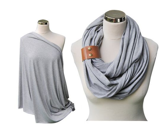 Heather Gray Nursing Scarf with leather cuff by IskraAccessories