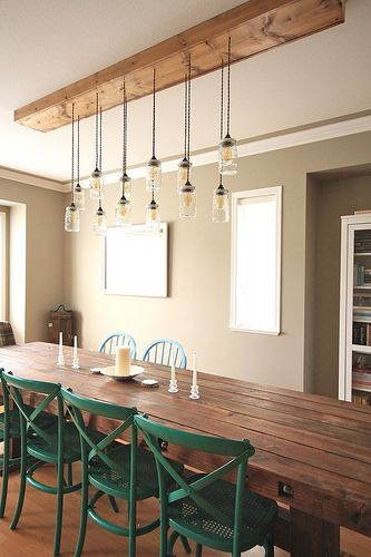 Diy dining table light fixtures and dining tables on for Dining room table lighting fixtures