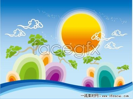 Traditional Chinese landscape painting vector