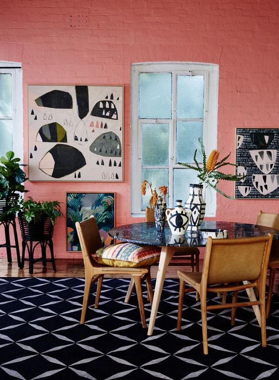 Pantone living coral interior decor, coral living room decor ideas #livingcoral #pantone