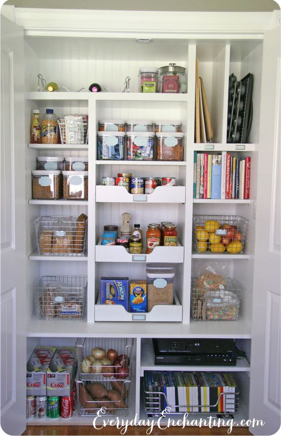 NEED to organize my pantry closet better - love their use of baskets, and those drawer shelves in the center.