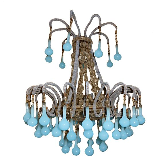 Crazy and beautiful... Vintage Turquoise Murano Chandelier  France  1920s  GORGEOUS MURANO TURQUOISE CHANDELIER! 50 original murano drops.I picked up this chandelier in the south of France.Curved vintage crystal decorative bottom,12 inch original chain and canopy.