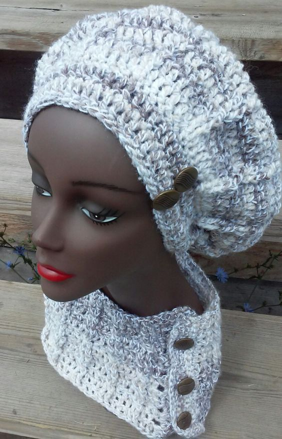Lush crochet beret and cowl/scarf set by DoUDiva on Etsy