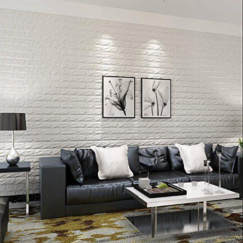10pcs 3d Brick Wall Stickers Pe Foam Self Adhesive Wallpaper