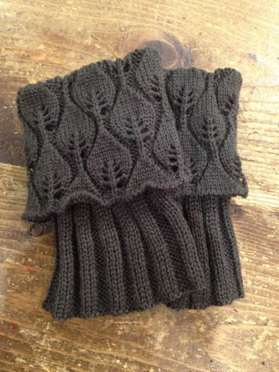 Free Knitting Pattern For Boot Cuffs : Knitted boot cuff / boot toppers lace leaf pattern in by carm1224 on Etsy C...