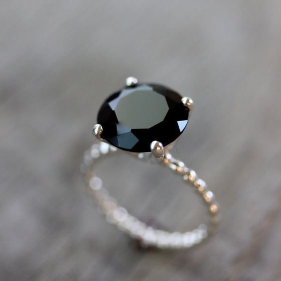 Black Spinel Precious Gemstone and Sterling Silver: Wedding Ring, Spinel Preciou, Black Diamonds, Engagement Ring, Black Diamond Rings