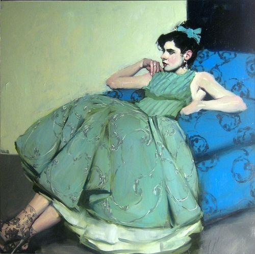 Malcolm Liepke -Green Dress, 2013;50 X 50 in.,oil on canvas