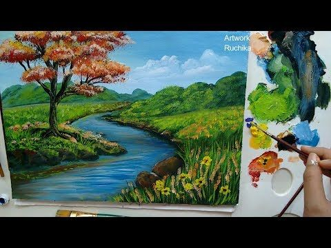 A Landscape Painting With Flowers Acrylic Painting Tutorial Youtube Landscape Paintings Landscape Paintings Acrylic Abstract Landscape Painting