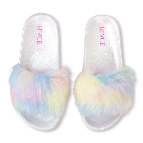 Girls Rainbow Faux Fur Slides | Girls
