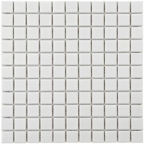 Metro Mini Square Glossy White 11 3 4 X11 3 4 Porcelain Mosaic Porcelain Mosaic Tile Mosaic Flooring Porcelain Mosaic