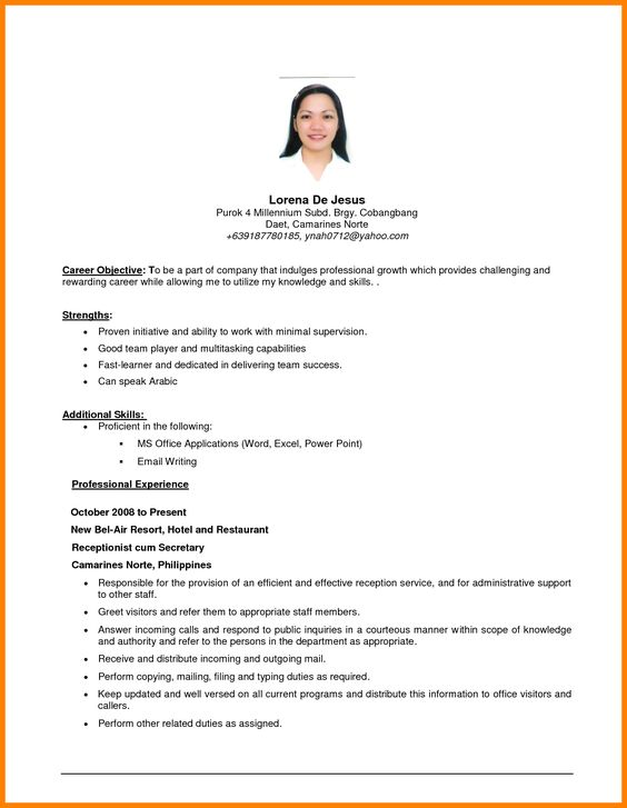 resume objective sample computer skills examples for example your - objective for hotel resume
