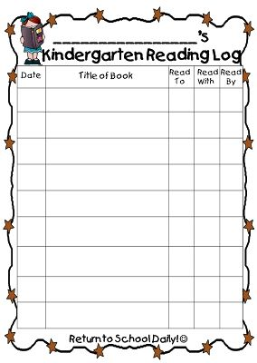 This pin is a Kindergarten Reading Log for reading practice. It's ...