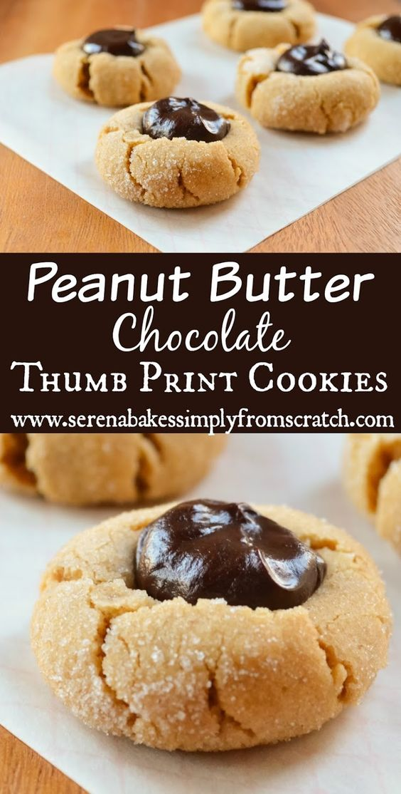 Peanut Butter Chocolate Thumbprint Cookies | Sodas, Chocolate chips ...