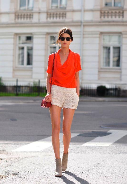Crochet Shorts + Tangerine Top  = Summer