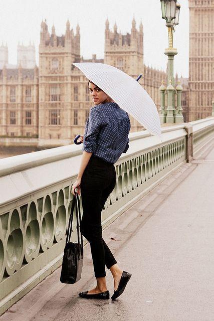 Simple but chic. Black pants, black ballet flats, patterned shirt....umbrella optional!!!