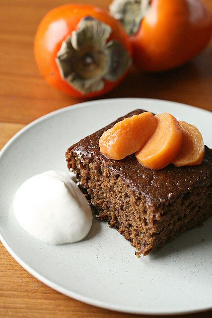 ... Gingerbread w/ Poached Persimmons | Gingerbread, Spicy and Sweet