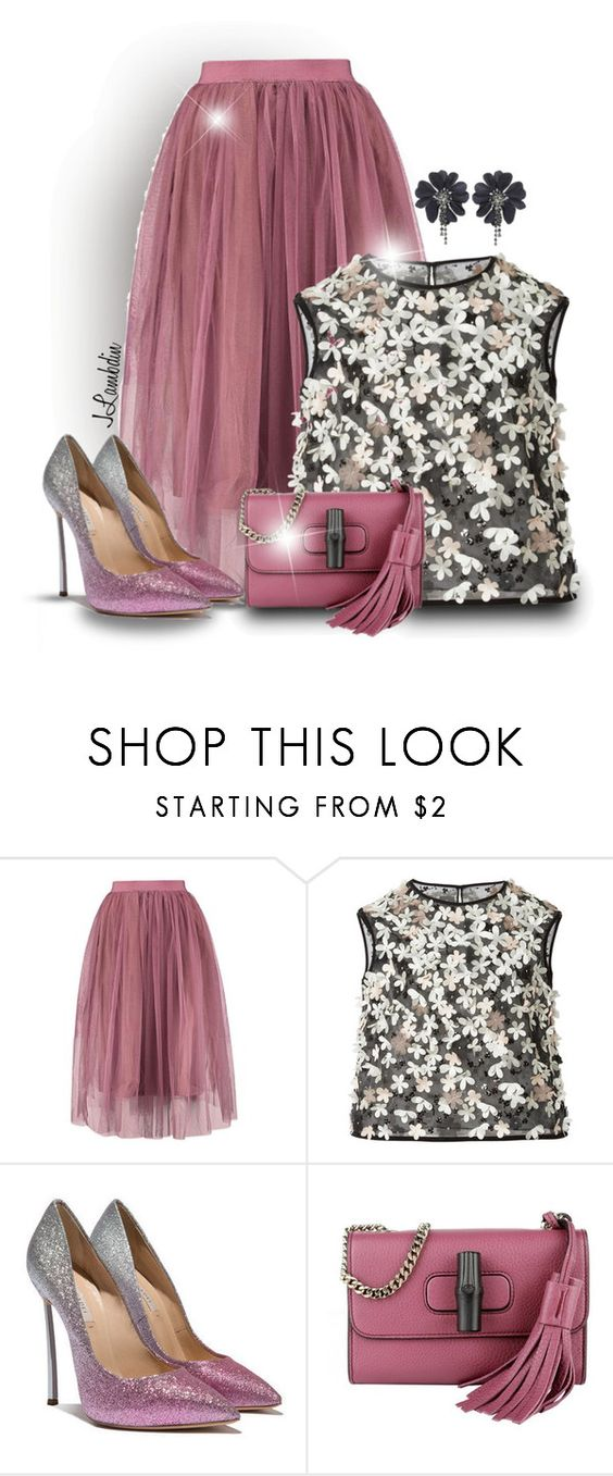 """""""Untitled #2434"""" by jodilambdin ❤ liked on Polyvore featuring Monique Lhuillier, Casadei, Gucci and PVNewArrivals"""