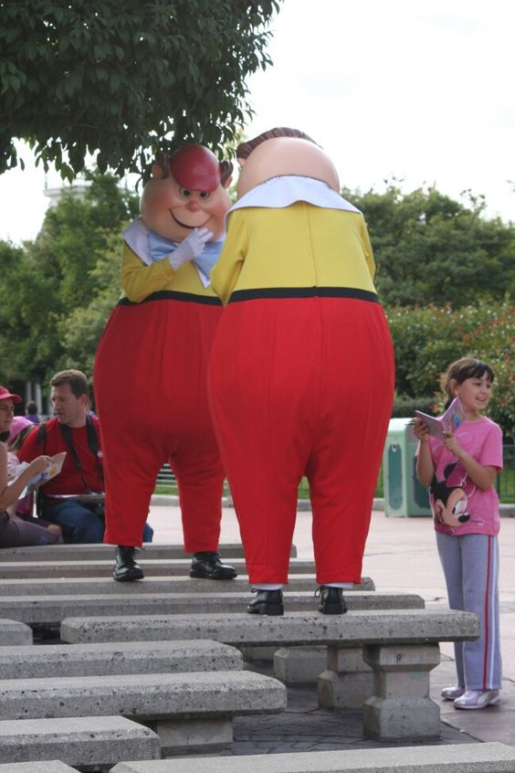 Tweedle Dum and Tweedle Dee take time out to be silly.