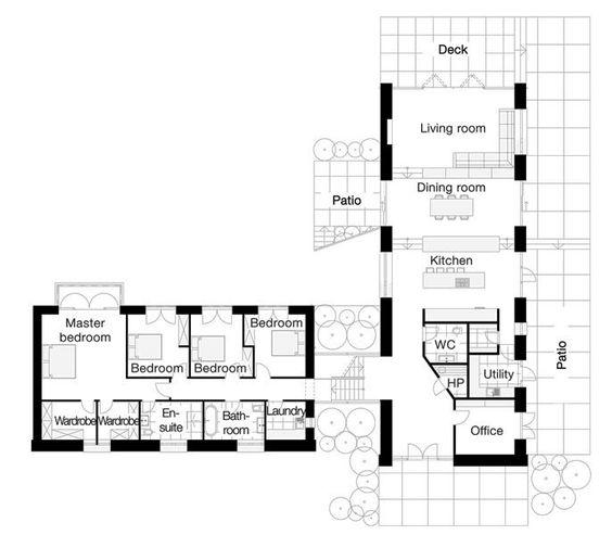 18x50 House Design Google Search: L-shaped Four Bedroom Open Floor Plans