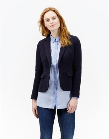 Joules Womens Single Breasted Jersey Blazer, Marine Navy. Crafted ...