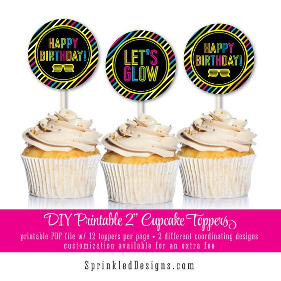 PRINTABLE Neon Glow Birthday Party Pack Banner by SprinkledDesign