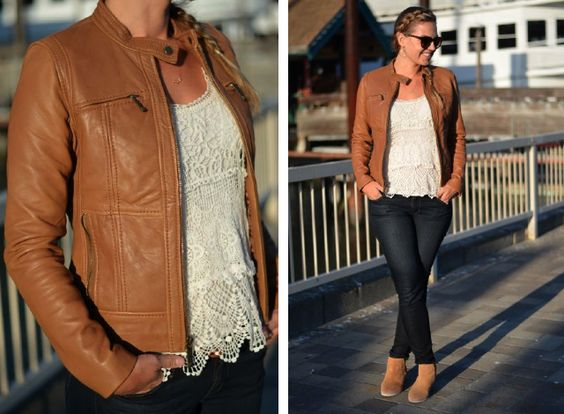 excellent tan motorcycle jacket