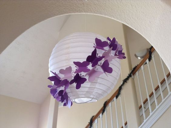 Purple rain paper lanterns and princess room decor on for How to decorate a paper butterfly