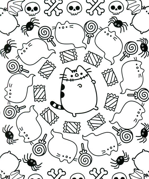 Pusheen Autumn Coloring Pages - Coloring And Drawing