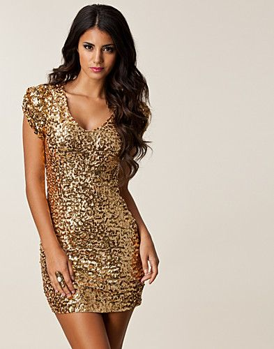Jarna Sequins Dress - Oneness - Gold - Party dresses - Clothing ...