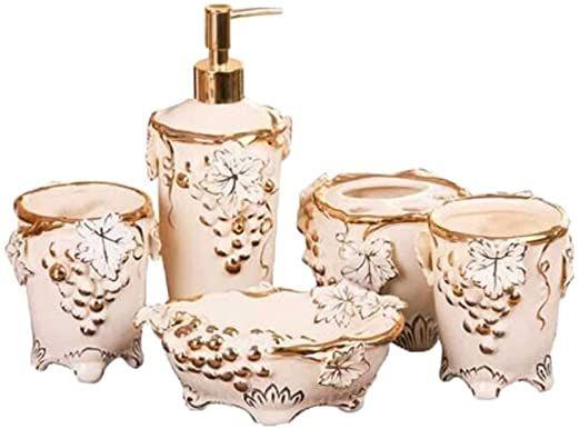 Xingzhe Bathroom Accessories Set European Ceramic Light Luxury Personalized Grape Diamond Bathroom Bathroom Accessory Set Bathroom Accessories Soap Dispenser