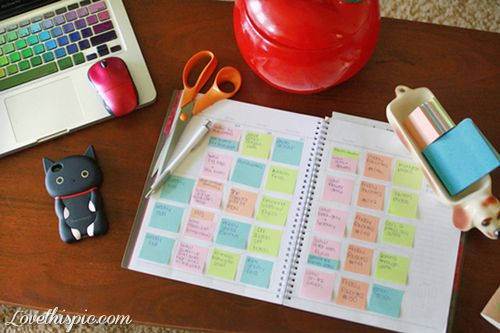 Work desk organizing girly cute cool notes school organize - School desk organization ideas ...