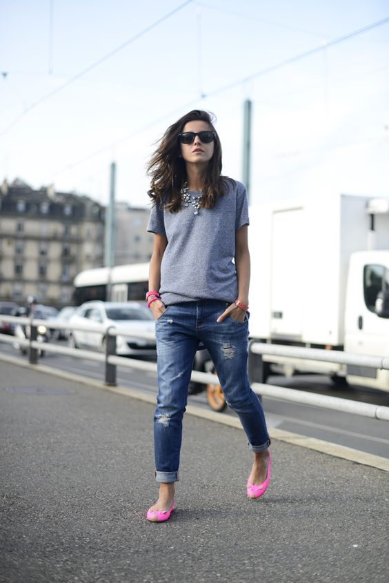 Boyfriend jeans Rhinestone necklace and Neon shoes on ...