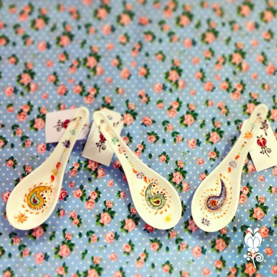 Cucharas de porcelana pintadas a mano nuestra vajilla - Vajillas pintadas a mano ...