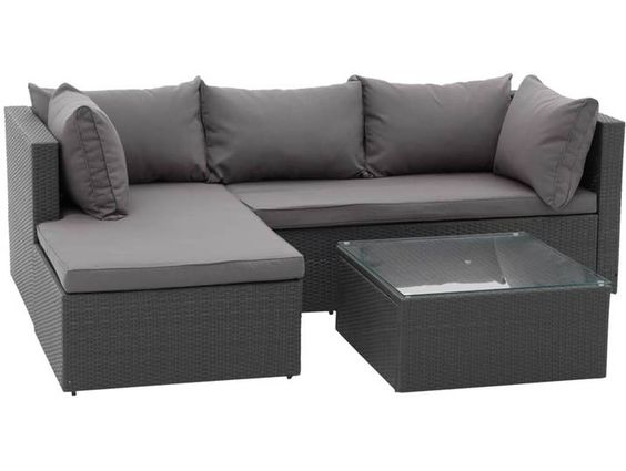 Outliv Basel Loungeecke 3 Teilig Aluminium Geflecht Anthrazit Grau In 2020 Lounge Lounge Mobel Gartenmobel