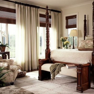 Curtains Ideas blinds or curtains : Dark wood blinds + dark wood curtain rod + long light & airy ...