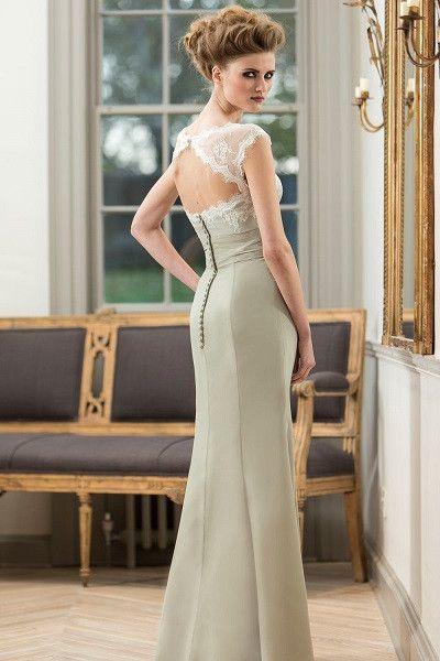 tb-m576 Chiffon dress with delicate lace bodice