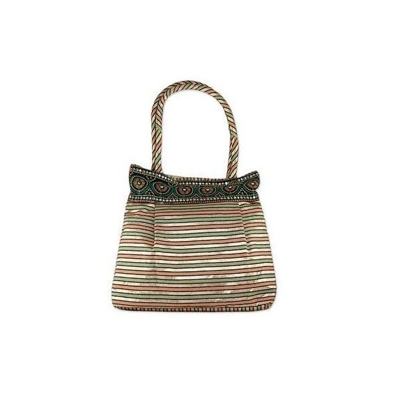 NOVICA Fair Trade Embellished Shoulder Bag (2.225 RUB) ❤ liked on Polyvore featuring bags, handbags, shoulder bags, accessories, clothing & accessories, metallic, white handbags, embroidered handbags, purse shoulder bag and white purse