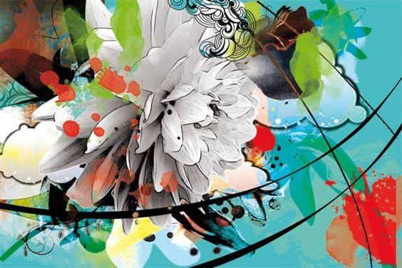 Papier peint fleur d'été : Papier peint nature - Papier peint design - Izoa