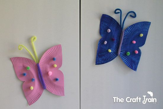 Paper plate butterfly craft: