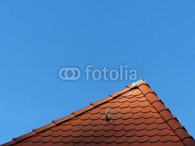 Traditionelles Dach mit rotbraunen Schindeln in Oerlinghausen im Teutoburger Wald bei Bielefeld in Ostwestfalen-Lippe
