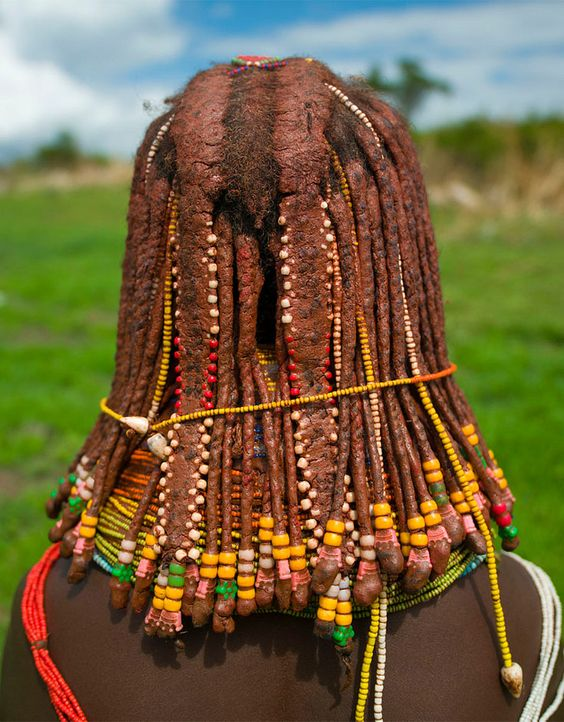 "Africa | ""Mwila tribe hairstyle"".  Angola 