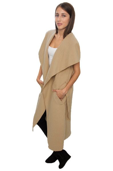 JAZZEVAR newest spring Wasserfall Mantel women's wool blend vest Casual long trench coat Outerwear loose clothing with belt