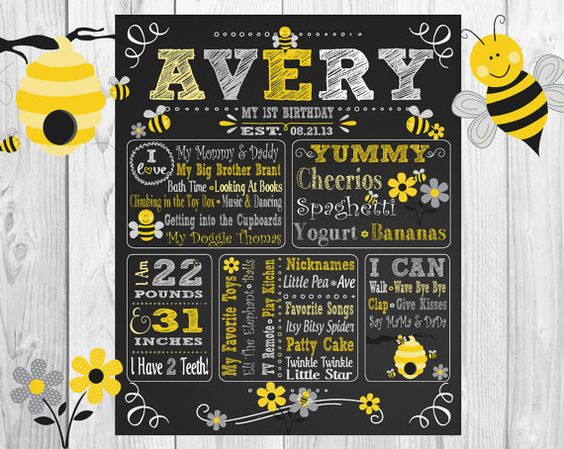 Bumble Bee Grey Yellow White ChalkBoard Wall Art Gray by allchalk