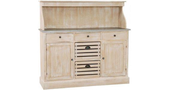 Meuble de cuisine bois exotique blanchi plateau zinc 2 portes 5 tiroirs prix Meubles de Cuisine Destock Meubles 638,00 €