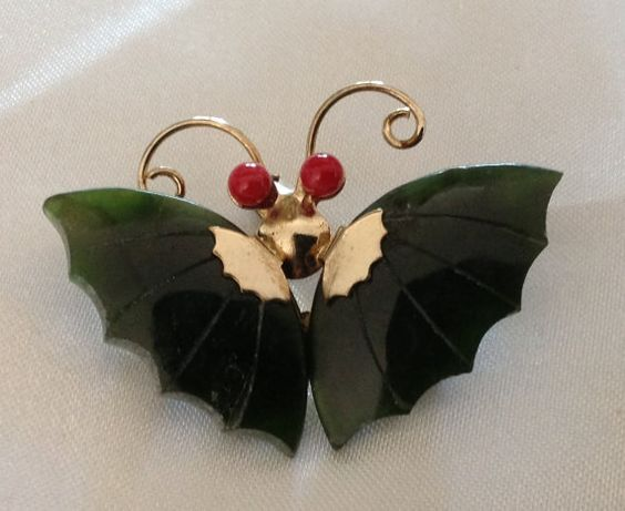 Vintage Jade & Coral Butterfly Brooch by VintageVelvetBox on Etsy, $14.99