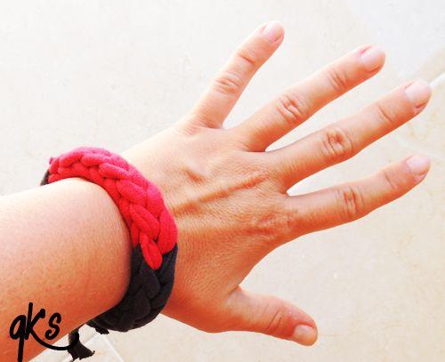 pulsera de moda bicolor rojo y gris...........