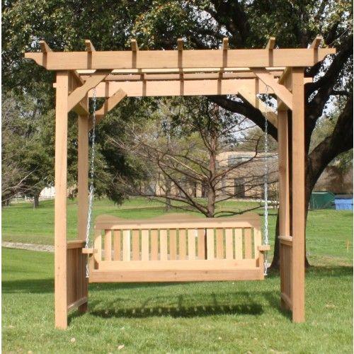 Tmp Outdoor Furniture Decorative Red Cedar Deluxe Arbor Swing Set