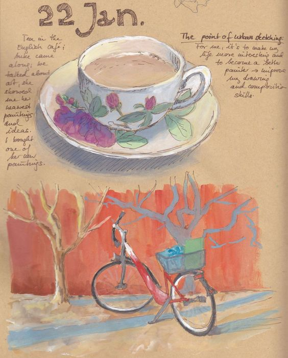 Gouache in the city - and in my sketchbook. Gouache on kraft paper. By Antje Bednarek-Gilland.