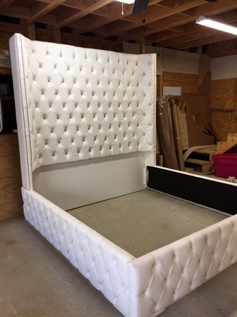 White King Size Tufted Bed Luxurious Wingback Tufted Bed White Bed
